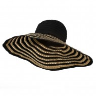 Striped Hat with Flower And Ribbon Design - Black