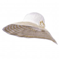 Striped Hat with Flower And Ribbon Design - White
