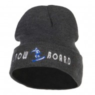 Snowboard Embroidered Long Beanie - Dk Grey