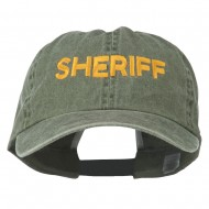 Sheriff Letter Embroidered Big Size Washed Cap - Olive