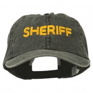Sheriff Letter Embroidered Big Size Washed Cap - Black