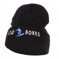 Snowboard Embroidered Long Beanie - Black
