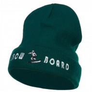 Snowboard Embroidered Long Beanie - Dk Green