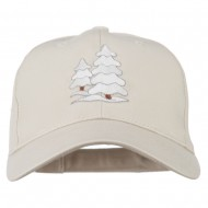 Christmas Trees with Snow Embroidered Cap - Stone