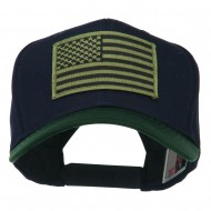 Subdued American Flag Patched Two Tone High Cap - Green Navy