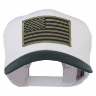 Subdued American Flag Patched Two Tone High Cap - Green White