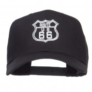 US Route 66 Embroidered Cap - Black