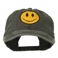 Smiley Face Embroidered Washed Cap - Black