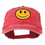Smiley Face Embroidered Washed Cap - Red