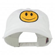 Smiley Face Embroidered Washed Cap - White