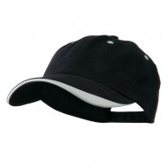 Two Tone Adjustable Brushed Cotton Twill Cap - Navy White