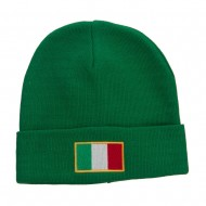 Europe Italy Flag Embroidered Long Beanie - Kelly