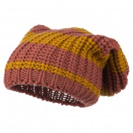 Two Tone Knit Deep Beanie - Mustard Pink