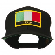 Italy Europe Flag Patched Flat Bill Cap - Black