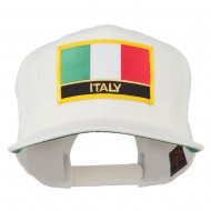 Italy Europe Flag Patched Flat Bill Cap - Natural