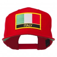 Italy Europe Flag Patched Flat Bill Cap - Red