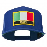 Italy Europe Flag Patched Flat Bill Cap - Royal