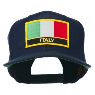 Italy Europe Flag Patched Flat Bill Cap - Navy
