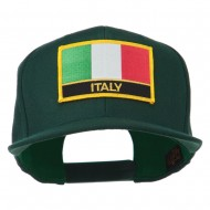 Italy Europe Flag Patched Flat Bill Cap - Spruce