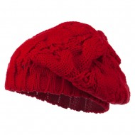 Women's Thick Cable Knit Beret - Red