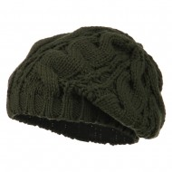 Women's Thick Cable Knit Beret - Olive