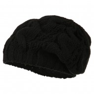 Women's Thick Cable Knit Beret - Black