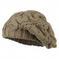 Women's Thick Cable Knit Beret - Taupe