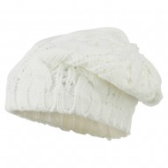 Women's Thick Cable Knit Beret - White