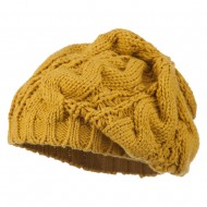 Women's Thick Cable Knit Beret - Mustard