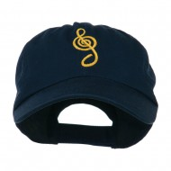 Treble Clef Embroidered Cap - Navy