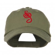 Treble Clef Embroidered Cap - Olive