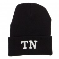 TN Tennessee State Embroidered Long Beanie - Black