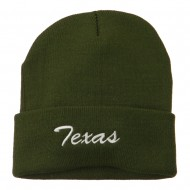 Texas Embroidered Long Cuff Beanie - Olive
