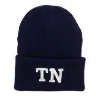 TN Tennessee State Embroidered Long Beanie - Navy