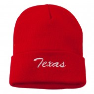 Texas Embroidered Long Cuff Beanie - Red