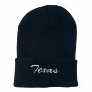 Texas Embroidered Long Cuff Beanie - Navy