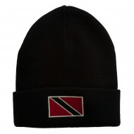 Trinidad Flag Embroidered Long Knitted Beanie - Navy