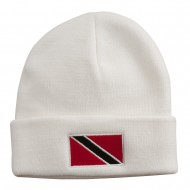 Trinidad Flag Embroidered Long Knitted Beanie - White
