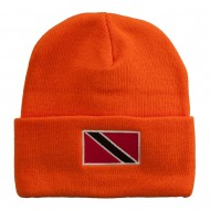 Trinidad Flag Embroidered Long Knitted Beanie - Orange