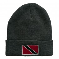 Trinidad Flag Embroidered Long Knitted Beanie - Grey