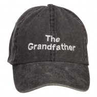 The Grandfather Embroidered Big Washed Cap - Black