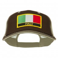 Italy Europe Flag Patched Big Size Washed Mesh Cap - Brown Beige