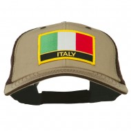 Italy Europe Flag Patched Big Size Washed Mesh Cap - Khaki Brown