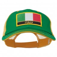 Italy Europe Flag Patched Big Size Washed Mesh Cap - Kelly Gold