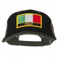 Italy Europe Flag Patched Big Size Washed Mesh Cap - Black Grey