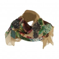 Thistle Flower Summer Scarf - Taupe