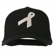 Breast Cancer Ribbon Embroidered Cap - Black
