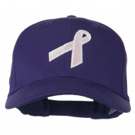 Breast Cancer Ribbon Embroidered Cap - Purple