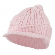 Twist Knitted Cuff Beanie with Visor - Pink