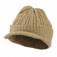 Twist Knitted Cuff Beanie with Visor - Khaki
